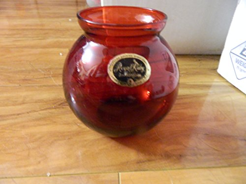 Anchor Hocking ROYAL RUBY round ivy Ball Vase - Vintage