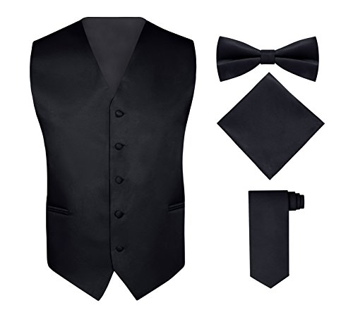 Mens Suit Black Solid (Men's 4 Piece Vest Set, with Bow Tie, Neck Tie & Pocket Hankie - Black, S)