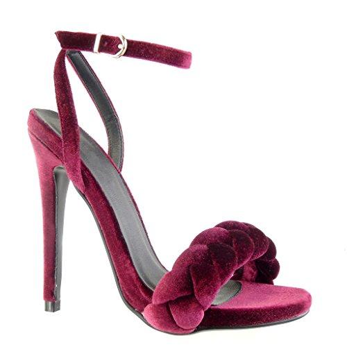 Angkorly - Chaussure Mode Sandale Escarpin femme tréssé lanière Talon haut aiguille 12.5 CM - Bordeaux