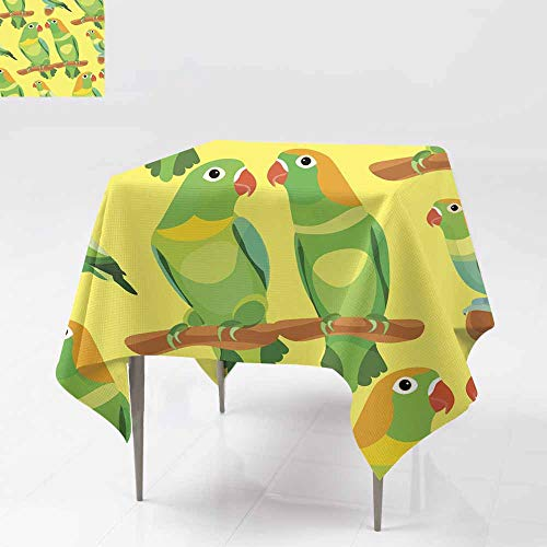 (Fbdace Indoor/Outdoor Square Tablecloth,Seamless Pattern Parrot Lovebirds Couple Sitting Head Turned gre Party Decorations Table Cover Cloth 36x36 Inch)