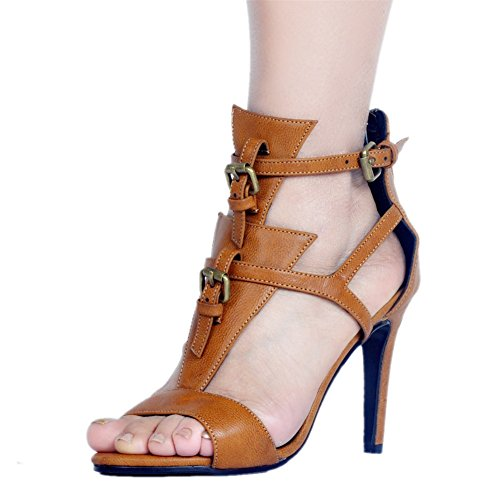 Women's Shoes PU Summer New Sandals Europe America Style Open Toe Sexy Stiletto Heel for Casual Dress Party & Evening (Color : A, Size : 42)