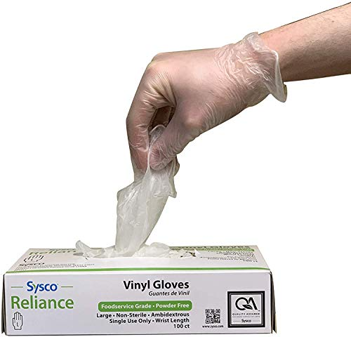 Sysco New Disposable Vinal Gloves Large 100 Per Box…