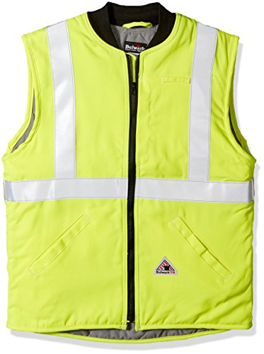Bulwark Men's Hi-vis Insulated Vest with Reflective Trim-Big/Tall, Yellow/Green, 2X-Large