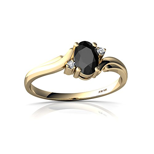 14kt Yellow Gold Black Onyx and Diamond 6x4mm Oval Swirls Ring - Size 7.5