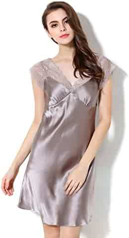 c5957d4dc2b6 CLC Women s Mulberry Silk Nightdress Lace Nightgown Pajamas