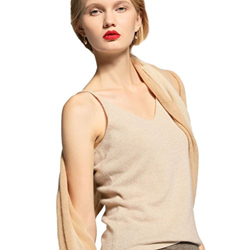 Cashmere Tank - FINCATI Shirts Tops Sweater Camisole Vests Top 2018 Women Spring Summer Spaghetti Strap Soft Sexy Slim V Neck Sales (Light Camel, L)