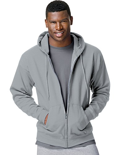Hanes Adult ComfortBlend EcoSmart Full Zip Hoodie Pullover, Light Steel, X-Large (Full Zip Dyed Pigment Cotton)