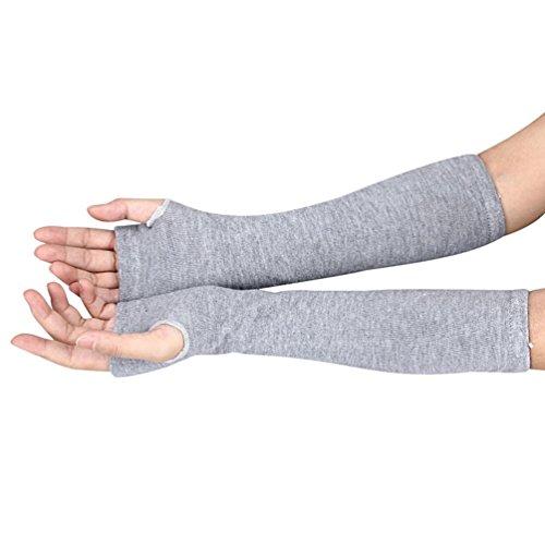 Winhurn Fashion Women Winter Arm Hand Warmer Cotton Knitted Fingerless Gloves (Grey) - Prime Training Gloves 16 Oz Grey