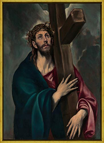 Berkin Arts Framed El Greco Giclee Canvas Print Paintings Poster Reproduction(Christ Carrying The Cross)