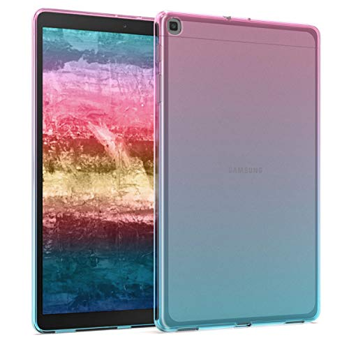 kwmobile TPU Silicone Case Compatible with Samsung Galaxy Tab A 10.1 (2019) - Soft Flexible Shock Absorbent Cover - Bicolor Dark Pink/Blue/Transparent