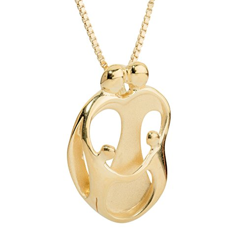 "Loving Family - Yellow Gold Plated Sterling Silver Parents and Two Children Pendant - 18"" Long - Gift Box"