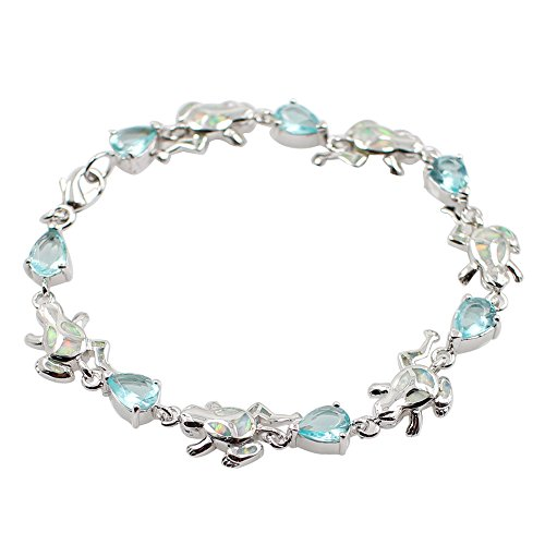 Sinlifu Silver Plated Stylish Charming Link Bracelet with White Opal Frog Shape and Crystal Inlay for Women or Girls (Frog Great Jewellery)