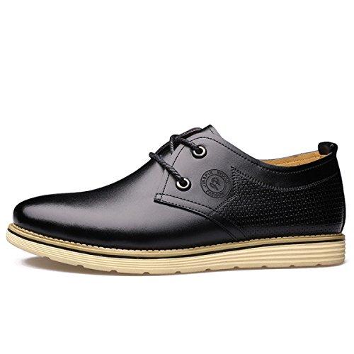 GRRONG Zapatos De Cuero De Los Hombres De La Manera Del Ocio Negro Marrón Amarillo Black