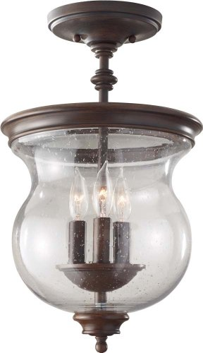 Feiss SF309HTBZ Pickering Lane 3 Semi-Flush Mount Light Fixture, Heritage Bronze ()