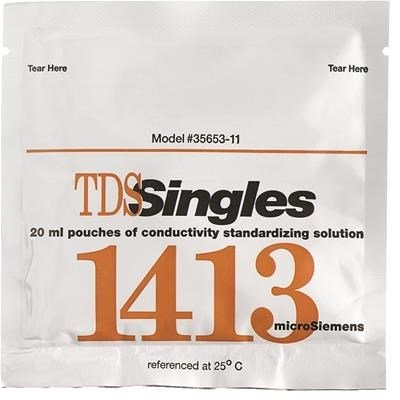 OAKTON Conductivity and TDS 1413µS Calibration Single-Use Pouch Solution, Box of 20