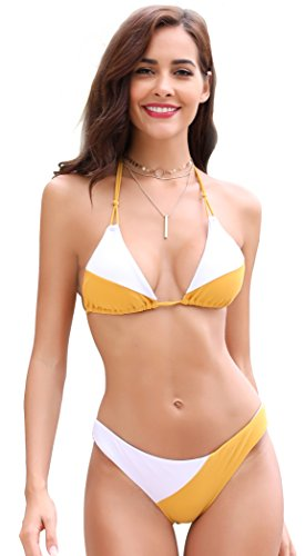 SHEKINI Women's Tie Side Bottom Padded Top Triangle Bikini Bathing Suit (Large/(US 12-14), Spectra Yellow - ()
