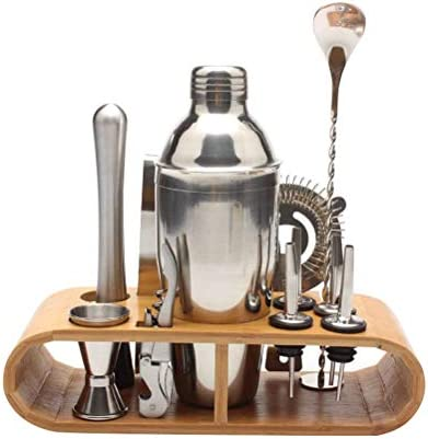 LQMILK Cocktail Set, Cocktail Shaker Set Mixology Barkeeper Set Cocktail Mixer Set mit Holzständer Cocktail Geschenkset, 750ml Cocktail Shaker Eiszange, Bier und Wein Flaschenöffner