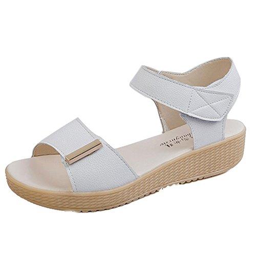 Kingko® Women's Summer Wedge Heel Candy Colour Sweet Style Sandals Beach Shoes White 6ZmQvuU