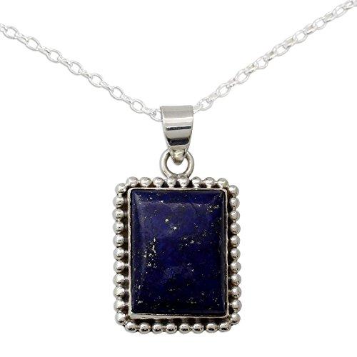 (NOVICA Lapis Lazuli .925 Sterling Silver Pendant Necklace, 17.75
