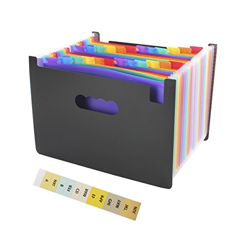 Expanding File Folder Organizer - Geila 24 Pockets Large Capacity Multi-Color Portable Accordion A4 Document Organizer - Works on Legal Size and Letter Size/Home Paper Organizer Bag