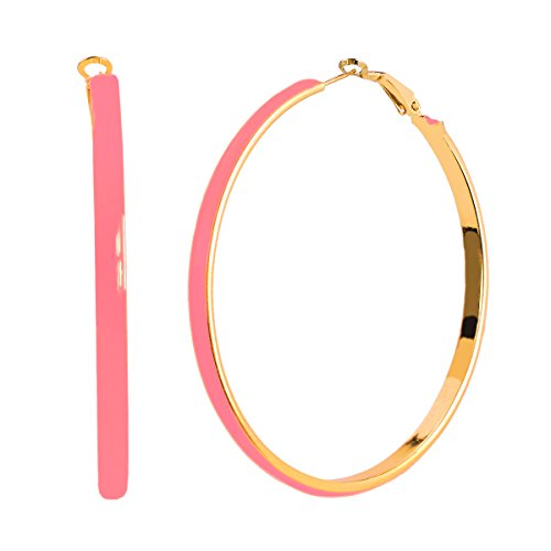 [JewelrieShop Women Girl Big Enamel Hoop Earrings with Rose Gold Plated, Nickel-free Stainless Steel] (80s Earrings)