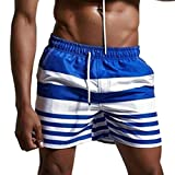 NUWFOR Men Casual Splice Stripe Beach Work Casual Men Short Trouser Shorts Pants(Blue,US:M Waist31.10'')