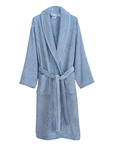 - TowelSelections Organic Turkish Cotton Bathrobe Terry Shawl Robe for Women Medium/Large Cashmere Blue