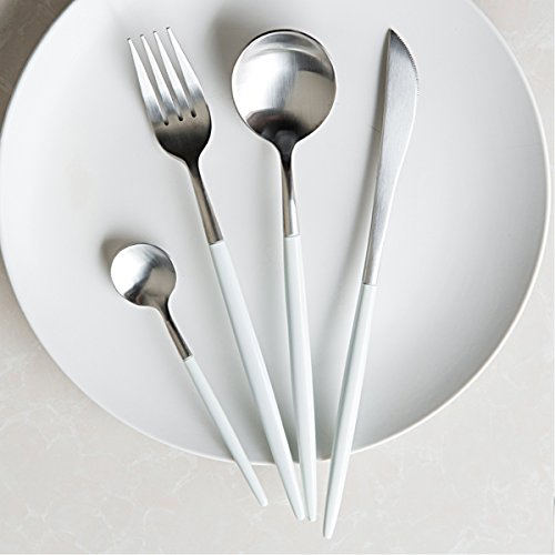 LEKOCH 4-Piece Stainless Steel Flatware Set 1 Including Fork Spoons Knife Tableware (White Tableware)