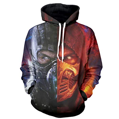 enjoyfashion Men's Mortal Kombat Hoodie Jacket Zip Pullover Halloween Cosplay Costume Hooded Sweatshirt with Pockets]()