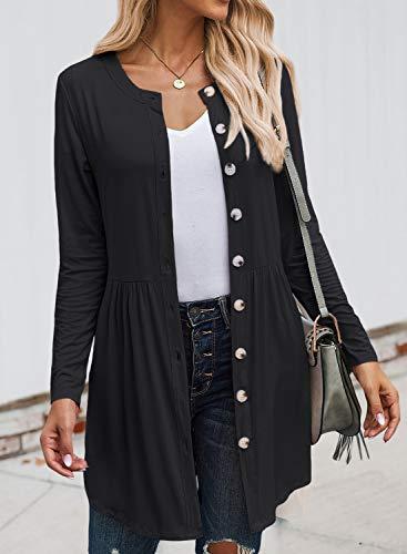 VICHYIE Women Casual Coat Button Down Long Sleeve Open Front Pleated Flowy Cardigan Outwear Top