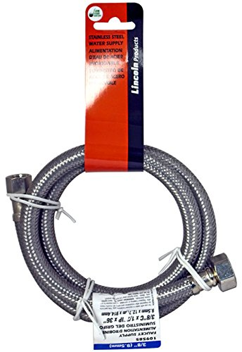 10 Pack Lincoln 109585 3/8'' OD Comp Nut x 1/2'' FIP Stainless Steel Lavatory Supply Line - 36'' Length