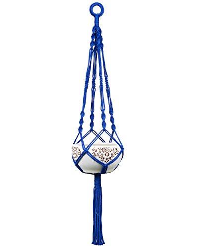 Mkono Colorful Macrame Plant Hanger Indoor Outdoor Hanging Planter Basket Cotton Rope 4 Legs 40 Inch (Dark Blue)