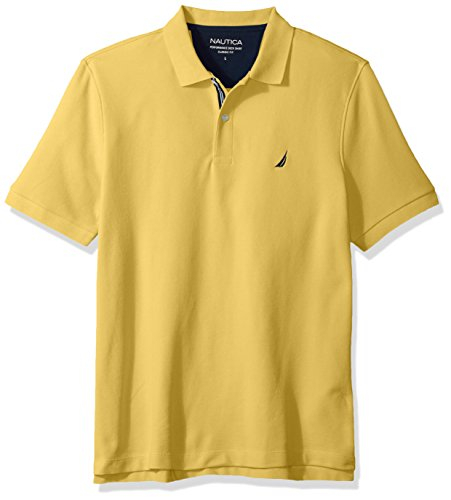 Nautica Men's Classic Short Sleeve Solid Polo Shirt, Mustard Field, X-Small