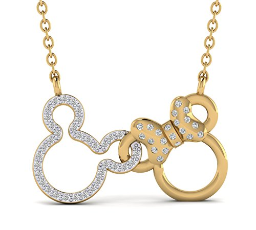 - Fehu Jewel 0.20cts Natural Diamond Gold Over Sterling Silver Double Mickey Mouse Pendant For Women (yellow-gold-plated-silver)