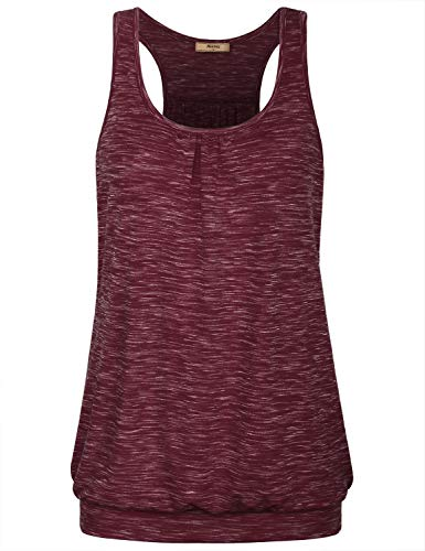Miusey Gym Shirts for Women,Ladies Scoop Neck Tank Tops Sleeveless Yoga Sporty Clothes Stylish Active Wear Summer Breathable Cozy Dri-Fit Solid Banded Bottom Jogging Suits Wine Red M