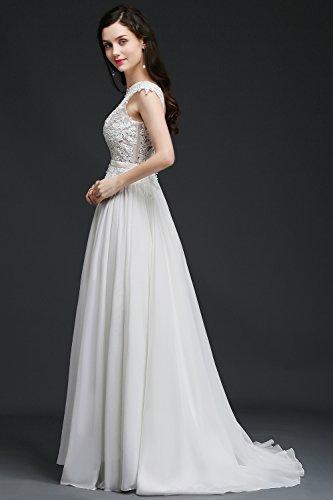 Damen Chiffon Hochteitskleider Abendkleid Gr 46 Brautjungfernkleid MisShow Brautkleider Spitzenkleid 32 Weiß Chiffon Bodenlang Tüll g4F4dqX