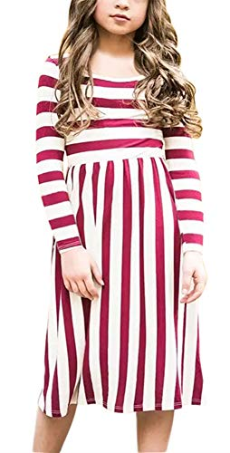 KIDVOVOU Girls Long Sleeve Striped Midi Dress,Kids Casual Dresses with Pockets for Toddlers Size 6-7Y