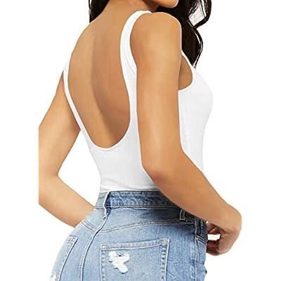 Women's Sleeveless T Shirt Backless Tank Tops Bodysuit: Clothing