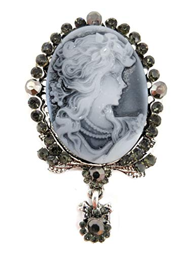 Ahugehome Women Cameo Brooch Pin Shield Decor Fashion Jewelry Box Gifting (C Cameo Victorian Sliver)