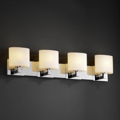 Justice Design FSN-8924-30-OPAL-DBRZ Modular Four Light Bath Bar, Glass Options: OPAL: Opal Glass Shade, Choose Finish: Dark Bronze Finish, Choose Lamping Option: Standard Lamping - Light Modular Bath Bar