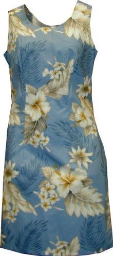 Short Tank - Women's Plumeria Hibiscus Feather Fern Hawaiian Aloha Poplin Cotton Dress in Blue - M