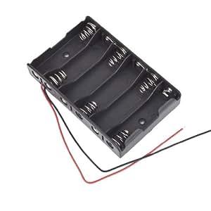 15cm Cables Negro 6 x 1,5 V batería AA Baterías Estuche