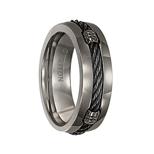 Triton Ring Domed Titanium Comfort fit Band with Cable Inlay