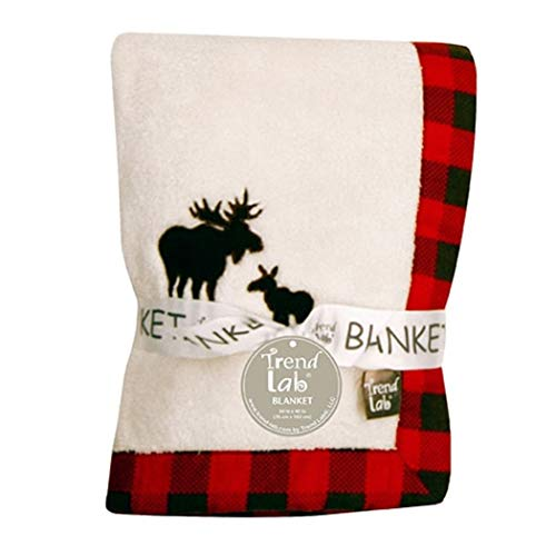 N2 Beautiful White Red Black Moose Framed Deluxe Fleece Blanket, Animal Themed Nursery Bedding, Infant Child Warm Comfortable Woods Solid Color Checkered Pattern Cute Adorable, Cotton ()