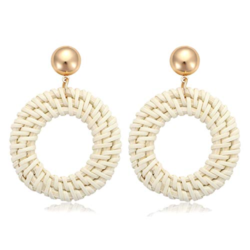 TIKCOOL Handmade Rattan Earrings for Women Straw Weaving Earrings Braid Hoop Earrings Circle Drop Dangle Earrings Lightweight Wicker Earrings Bohemian Handwoven Rattan Jewelry -