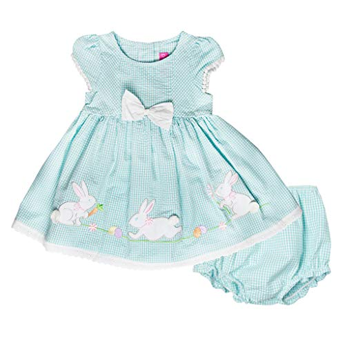 Good Lad Newborn/Infant Girls Turquoise Seersucker Dress with Bunny Appliques (24M)