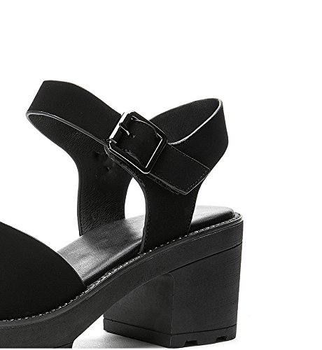 donna Sandali basso Tacchi Pantofole tacco 36 alla basso DHG casual estivi piatti da alti Sandali moda tacco a Nero Sandali con xIOwxdqf4