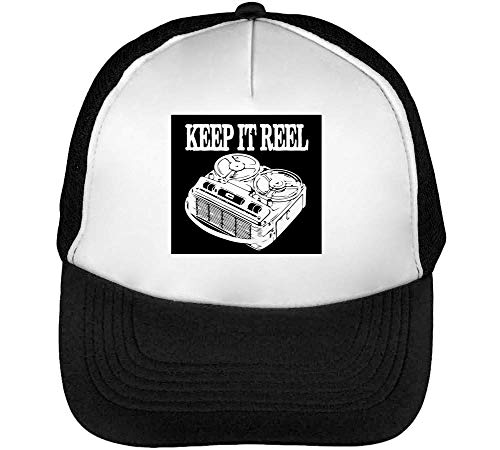 Keep Real Music Gorras Hombre Snapback Beisbol Negro Blanco