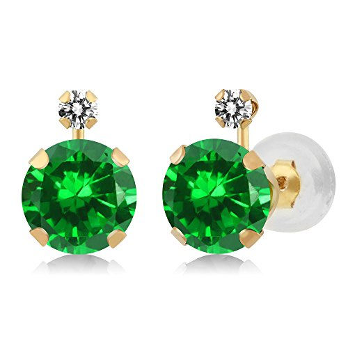 3.07 Ct Round Green Simulated Emerald White Diamond 14K Yellow Gold Earrings ()
