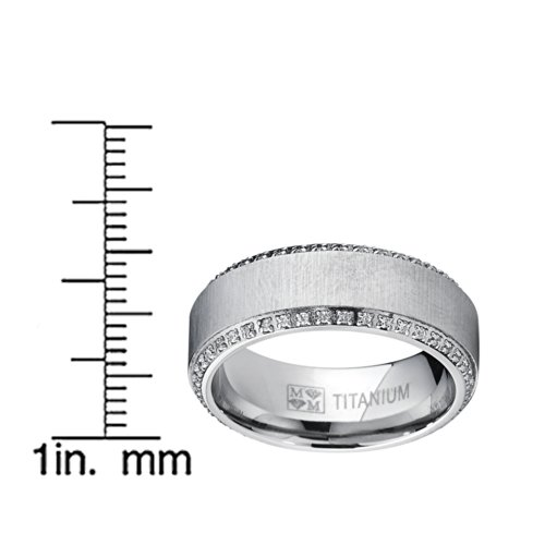 8MM Bague de mariage en titane brossé avec zircone cubique. Pour Homme,Intérieur Confort